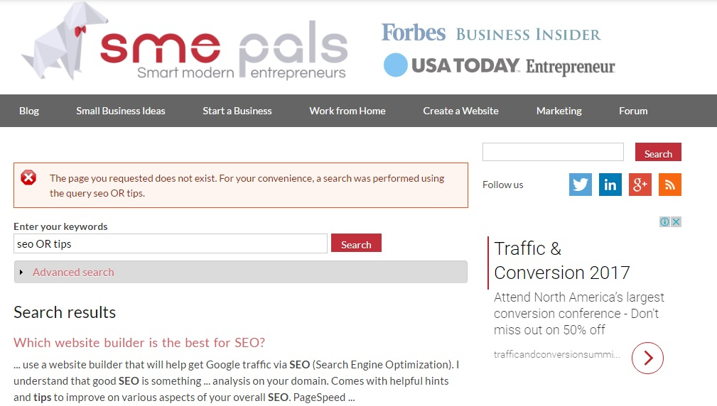 Dynamic 404 page using site search results