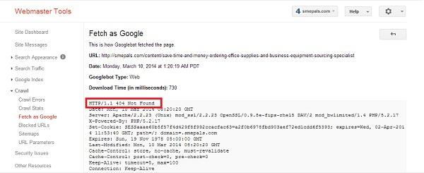 404 server response as seen by googlebot