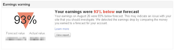 Google Adsense warning showing drop in earnings
