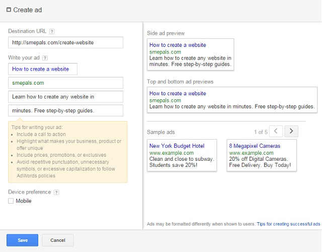 Google Adwords - Create a new PPC ad