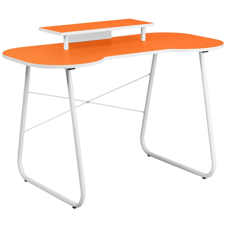 Orange home office computer desk