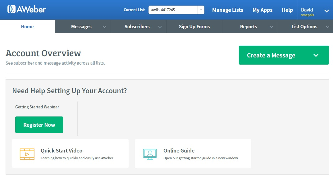 Account overview with access to lists, forms, messages & subscribers