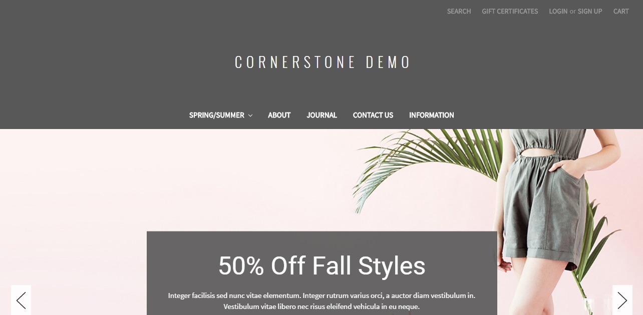Cornerstone is a free template for Bigcommerce