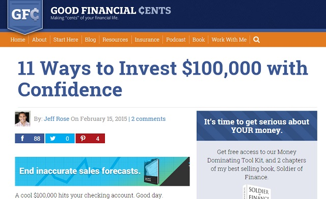Good Financial Cents generated new leads from their best post