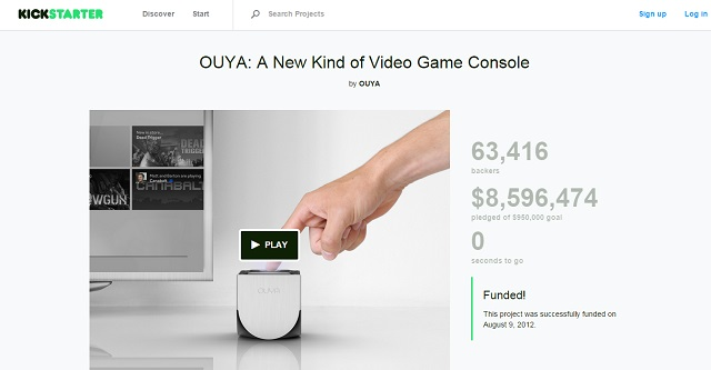Ouya is a games console that raised over $8 million in crowdfunding
