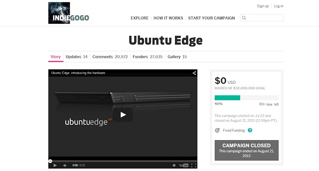 Ubuntu edge is the most successful crowdfunding campaign on Indiegogo
