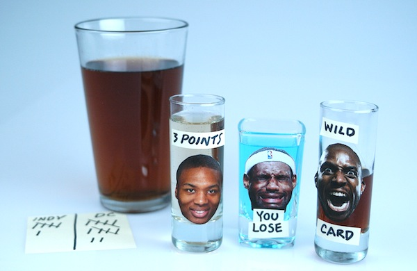 Drinking game coasters for sporting events