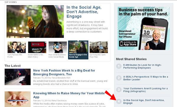 Entrepreneur's most shared stories list