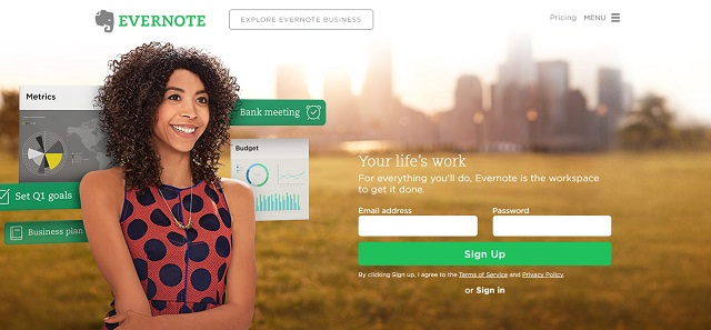 evernote provides an online workspace to save and manage life & work better