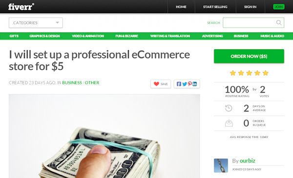 Fiverr gig offering to set up a professional eCommerce website