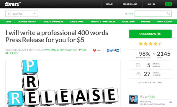 Fiverr gig offering an effective 400 word press release focused on high conversions