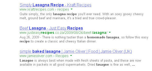 Generic Google search results without rich snippets
