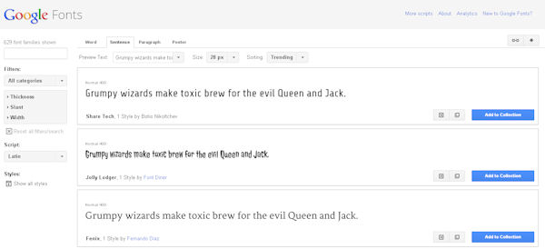 Google fonts makes beautiful Web design easy