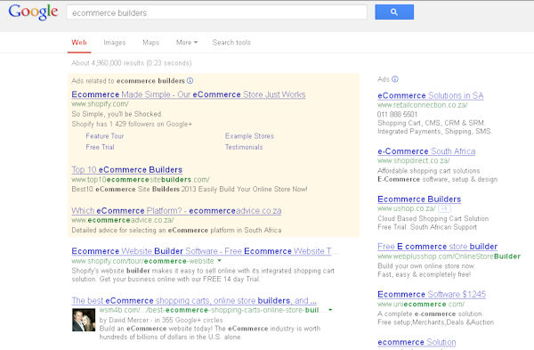 Google search result showing PPC AdWords ads