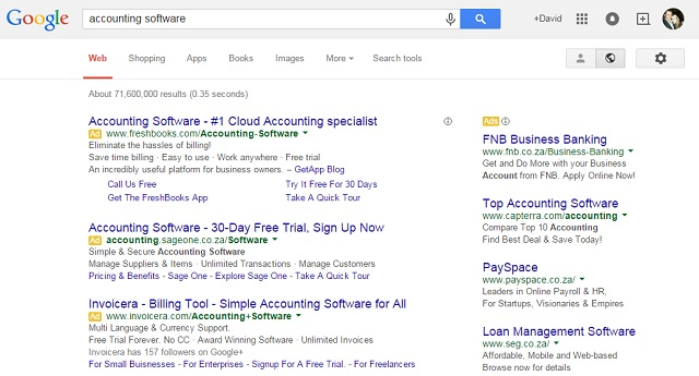 Google search results nearing 100% ads above the fold