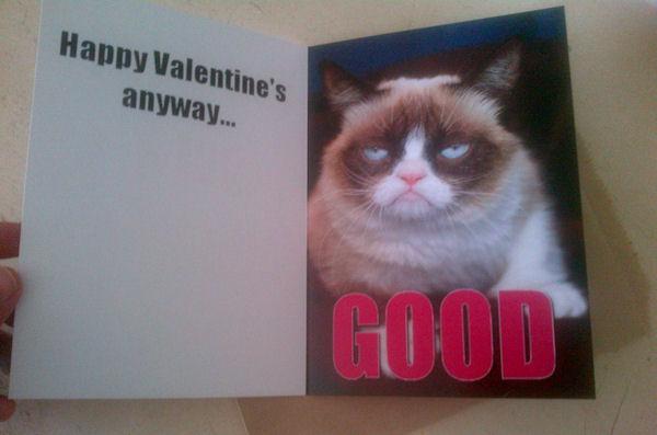 Grumpy cat valentine's card punchline