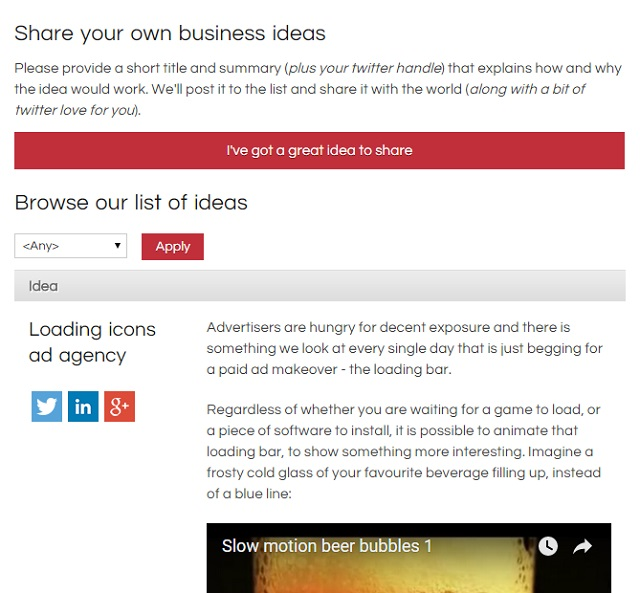 Browse and share brilliant new business ideas