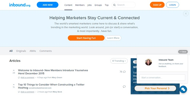 Inbound provides moderated, high quality content curation for marketers