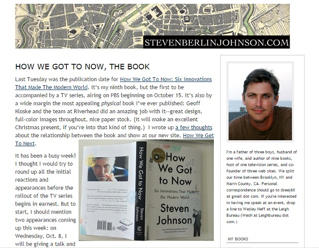 Steven Johnson author of 'Where good ideas come from'