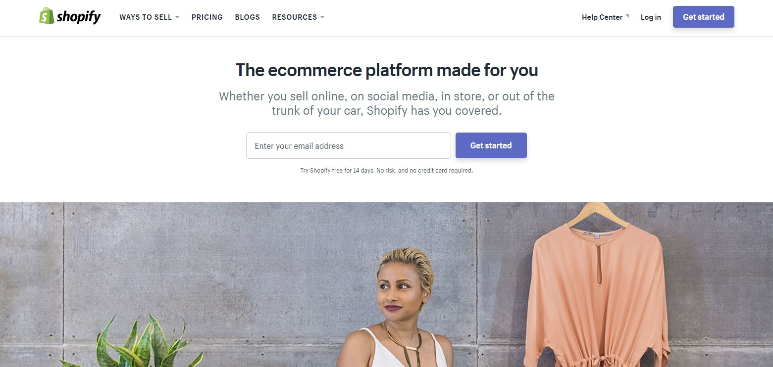 Shopify Web page design focused on getting visitors to sign up for a free trial