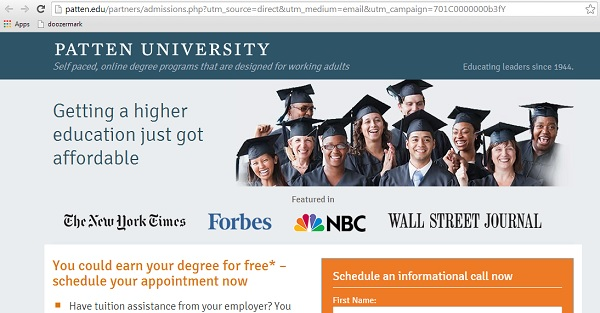Spam email leading to sign up form for Patten.edu