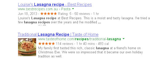 Google search results showing rich snippets