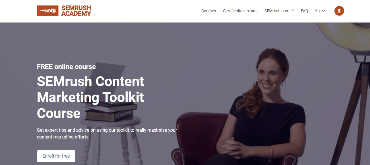 SEMrush free content marketing toolkit course