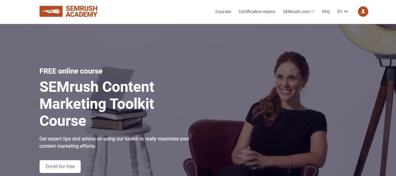 SEMrush free content marketing toolkit course