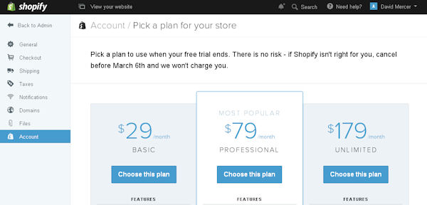 Shopify monthly hosting costs