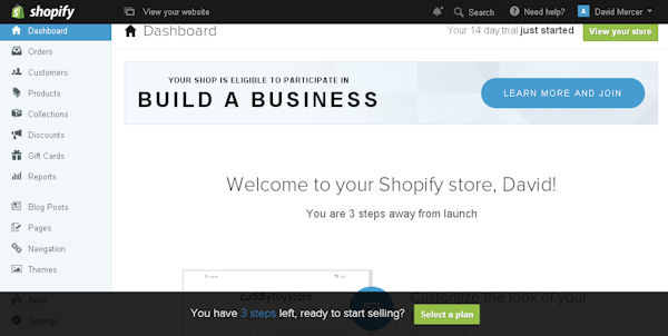 Shopify store admin dashboard