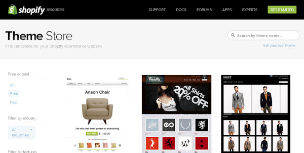 Find the perfect site template or theme in Shopify's theme store