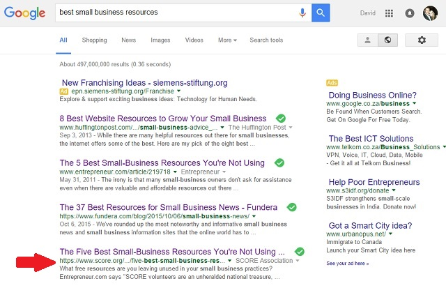 Google search for small business resources