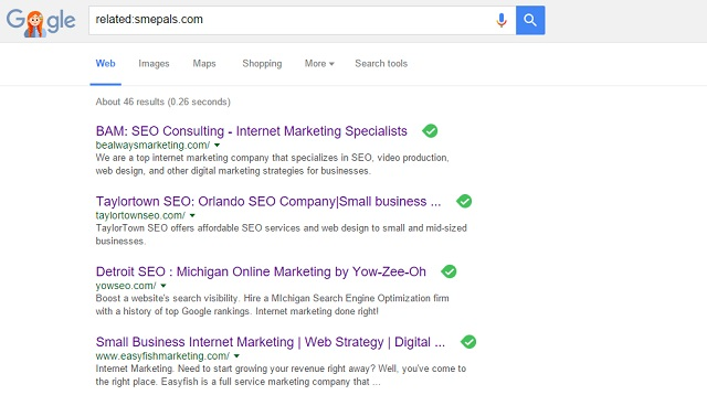 Google search's related operator showing similar sites