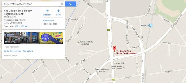 Google maps showing smepals fugu restaurant