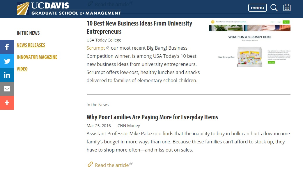 Referrals & backlinks from valuable influencers, like UC Davis