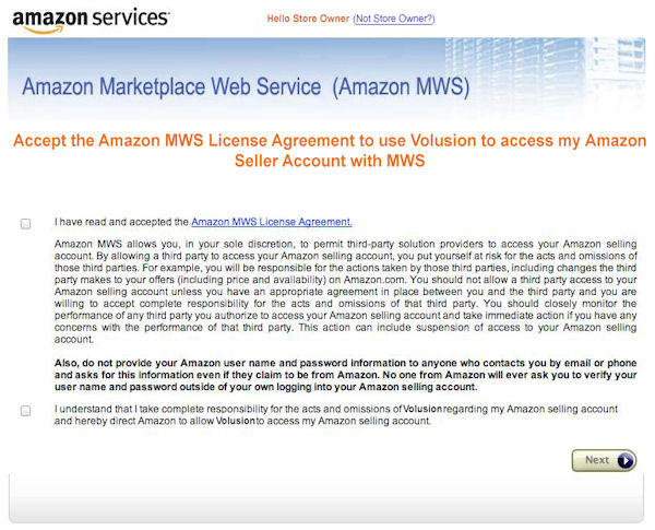 How to activate Amazon integration in Volusion - accepting the seller license agreement