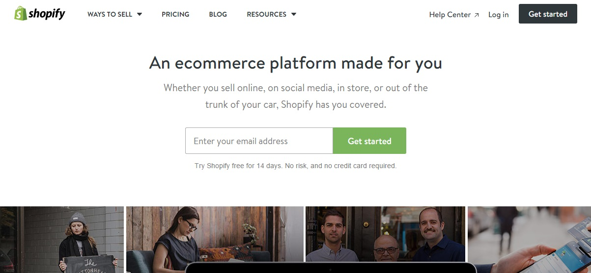 Start an online store for free with Shopify