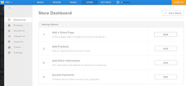 Weebly eCommerce administration interface