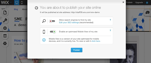 publish the site to the Internet