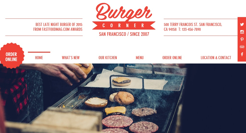 Burger corner is a stylish free theme for Wix