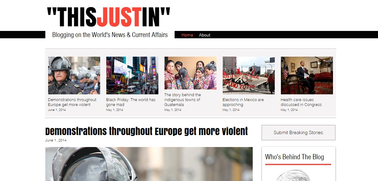 THISJUSTIN is a Wix theme for news type blogs and sites